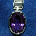 Amethyst, oval in 925/- Sterling-Silber