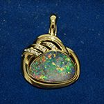 Opal, Brillant in 14kt. Gelbgold